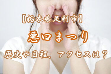 【栃木県】悪口まつり(足利市)とは?歴史や2021の日程を紹介